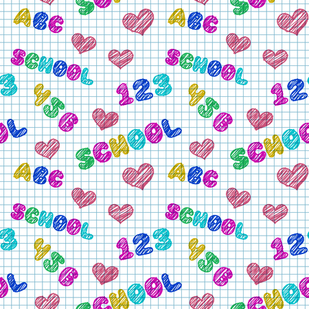 squared: Seamless pattern with hand drawn words, numbers and hearts on school squared paper. Vector illustration Illustration