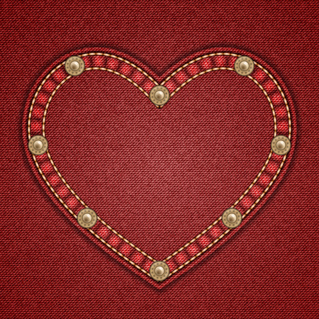 rivets: Heart shaped patch with rivets on denim background. Vector illustration