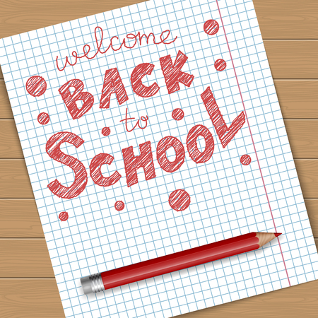 red pencil: Back to school vector illustration. Notebook page with text message and red pencil.
