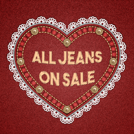 rivets: Heart shaped patch with rivets, lace border and embroidered text message on denim background. Vector illustration