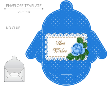 die: Envelope template with die cut. No glue. Retro style design wiht lace border and hand drawn rose.