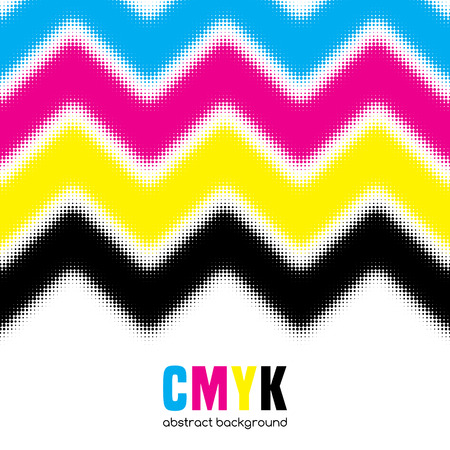 postscript: Abstract halftone background in CMYK colors. Vector illustration
