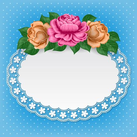 greeting card background: Vintage background with hand drawn roses and lace doily on polka dot background. Greeting card, invitation template. Illustration in retro style. Vector Illustration