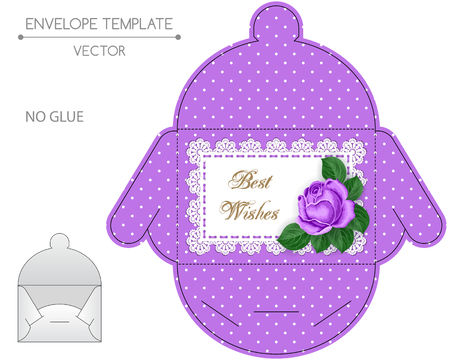 die cut: Envelope template with die cut. No glue. Retro style design wiht lace border and hand drawn rose.