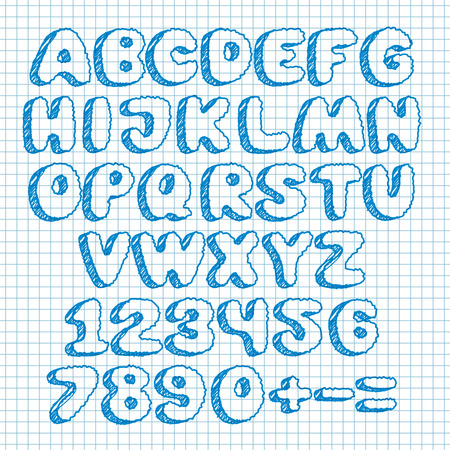 Hand Draw Doodle Font On School Squared Paper. Vector Illustration ...