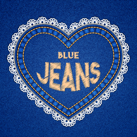 seams: Heart shaped patch with embroidered text message and lace border on denim background. Vector illustration