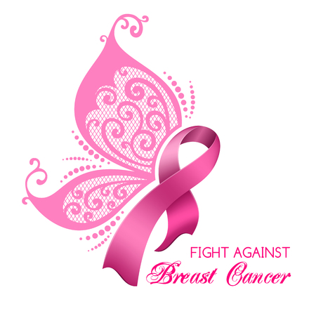 Breast cancer awareness pink ribbon with butterfly wings.