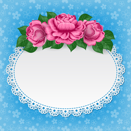 lace doily: Vintage background with hand drawn roses and lace doily on floral background. Greeting card, invitation template. Illustration in retro style.