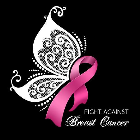 Borstkanker bewustzijn roze lint met vlindervleugels.