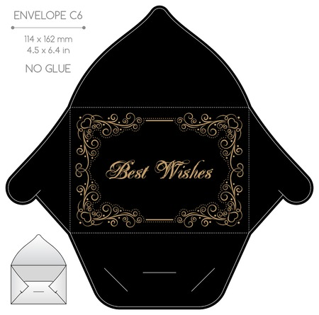 die cut: Envelope template with die cut. No glue. Retro style design with lace frame.