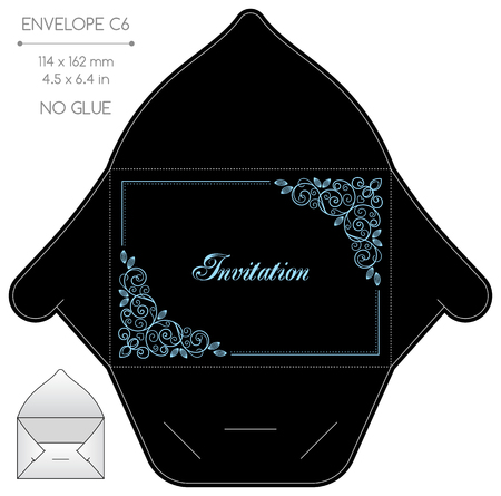 die: Envelope template with die cut. No glue. Retro style design with calligraphy frame.
