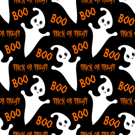 Halloween seamless pattern with cute ghosts. Vector illustration Illustration