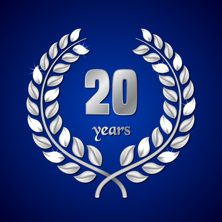 silver anniversary: Anniversary silver laurel wreath on dark blue background. Vector illustration