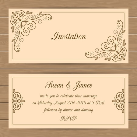 wedding frame: Wedding card or invitation template with calligraphy frame. Vector illustration in retro style Illustration