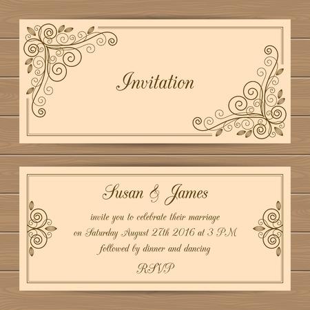 Hochzeit-Karte oder Einladung Vorlage mit Kalligraphie Rahmen. Vektor-Illustration im Retro-Stil