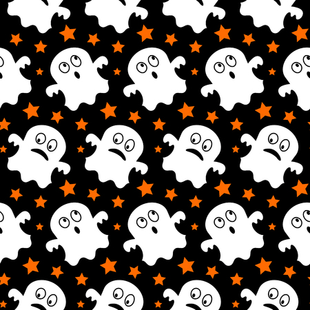 horrific: Halloween seamless pattern with cute ghosts. Vector illustration Illustration