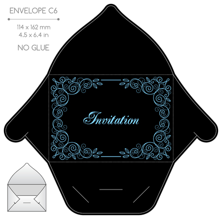 diecut: Envelope template with die cut. No glue. Retro style design with calligraphy frame.