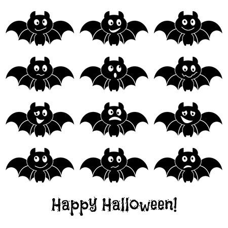 poltergeist: Set of cute Halloween bats. Vector illustration