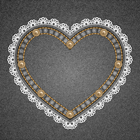 rivets: Heart shaped patch with rivets and lace border on denim background. Vector illustration