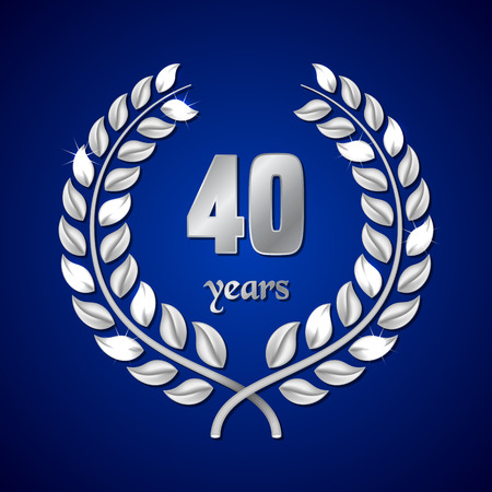 elite sport: Anniversary silver laurel wreath on dark blue background. Vector illustration