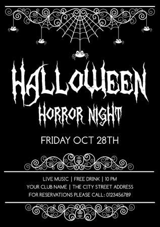 Halloween poster, flyer or invitation design template. Vector illustration.