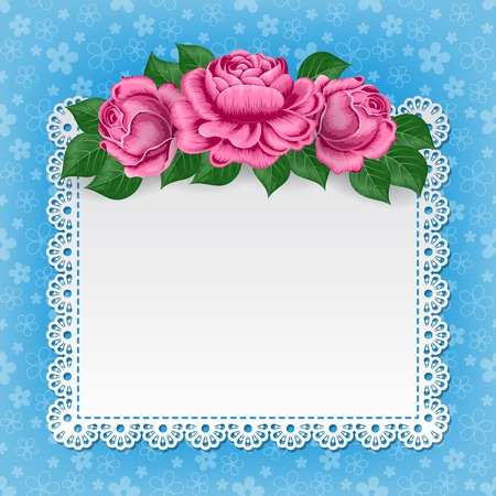 lace doily: Vintage background with hand drawn roses and lace doily. Greeting card, invitation template. Illustration in retro style. Vector