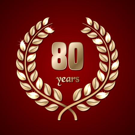 elite: Anniversary golden laurel wreath on dark red background. Vector illustration Illustration