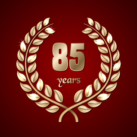 elite sport: Anniversary golden laurel wreath on dark red background. Vector illustration Illustration