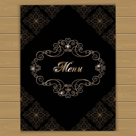 calligraphy frame: Menu cover with calligraphy frame in retro style. Vector illustration