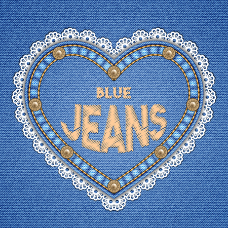 Heart shaped patch with rivets, lace border and embroidered text message on denim background. Vector illustration Ilustração Vetorial