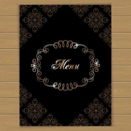 portadas de libros: Menu cover with calligraphy frame in retro style. Vector illustration