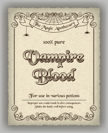 apothecary: Halloween apothecary label in retro style. Vector illustration