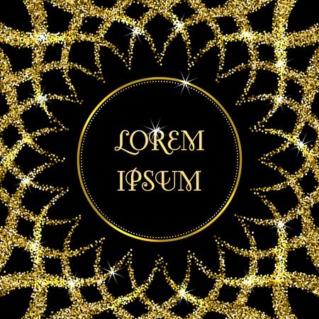 Runder Rahmen auf schwarzem Hintergrund der glitzernde Konfetti. Grußkarte, Einladungsschablone Standard-Bild - 61452522