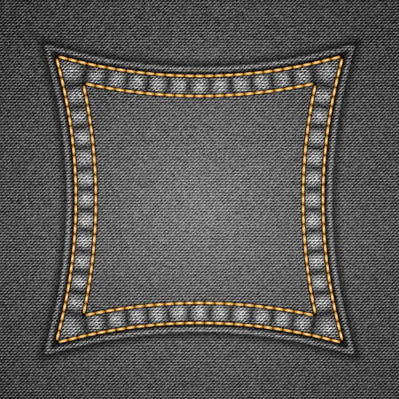 patch: Square patch on denim background. Vector illustration