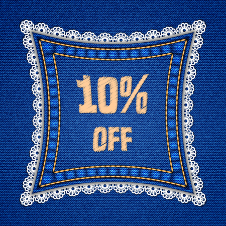 Square patch with embroidered text message and lace border on denim background. Vector illustration