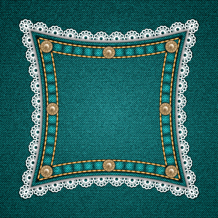rivets: Square patch with rivets and lace border on denim background. Vector illustration