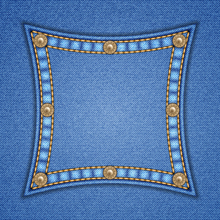 rivets: Square patch with rivets on denim background. Vector illustration