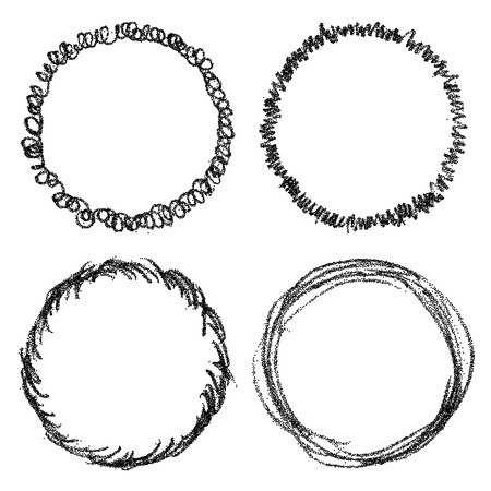 Set of hand drawn scribble round frames. Vector design elements Illustration