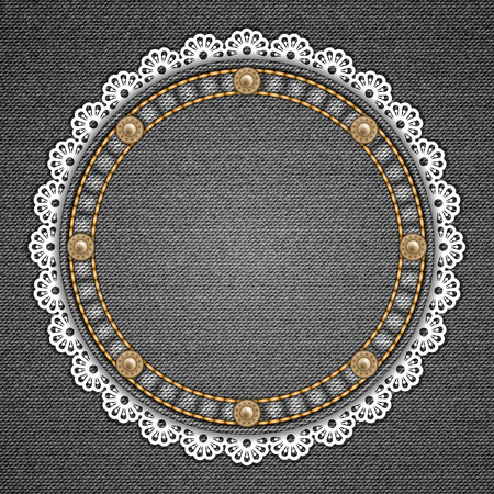 Round patch with rivets and lace border on denim background. Vector illustration