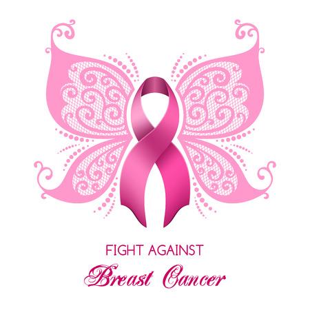 Wrażenie raka piersi różowa wstążka z skrzydłami motyli. Ilustracji wektorowych