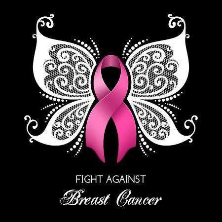 conciencia del cáncer de mama cinta rosa con las plumas de la mariposa. ilustración vectorial