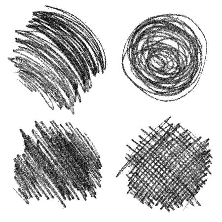 Set of hand drawn scribble shapes. Vector design elements