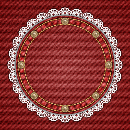 rivets: Round patch with rivets and lace border on denim background. Vector illustration