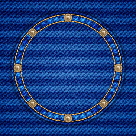 rivets: Round patch with rivets on denim background. Vector illustration