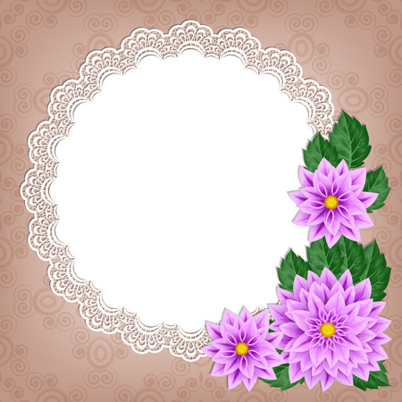Greeting card or invitation template with dahlias and lace frame. Illustration in retro style. Vector