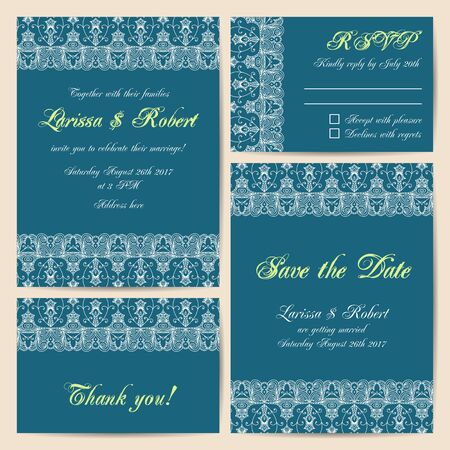 delicate: Set of wedding cards with delicate lace ornament. Vector illustration