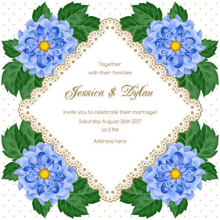 engagement party: Wedding card or invitation template with flowers and lace frame. Vector illustration Illustration