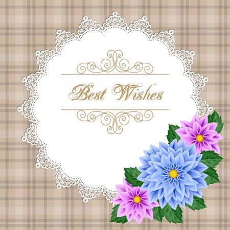 engagement party: Greeting card or invitation template with dahlias and lace frame. Illustration in retro style. Vector