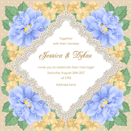 Wedding card or invitation template with flowers and lace frame. Vector illustration Illustration