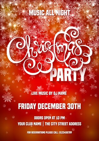 Merry Christmas party poster template. Illustration